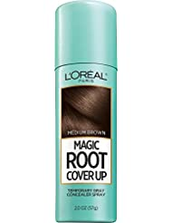 L'Oreal Paris Magic Root Cover Up Gray Concealer Spray, Medium Brown, 2 oz.(Packaging May Vary)
