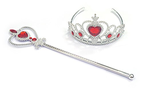 Kuzhi Frozen Crown Tiara and Wand Set - Silver Heart Jewel (Red)]()