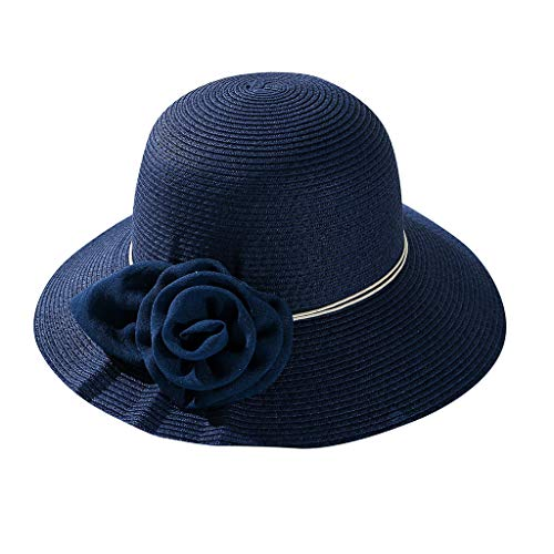 Sanyyanlsy Women Fashion Mesh Flower Wide Brim Sun Hat Sunscreen Sun Protection Beach Cap Elegant Holidday Style Hat Navy