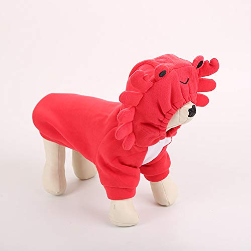 dxS8hhuo Pet Dog Puppy Cat Apparel Costume T-Shirt Clothes Jacket Outfit | Lovely Crab Flannelette Winter Warm Hoodie Pullover Dog Puppy Pet Clothes Gift - Red M]()