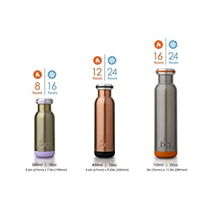 bq Vacuum Insulated 18/8 Stainless Steel BPA Free Leak proof Water Bottle & Thermos - Raw Silver, 750ml, 25oz