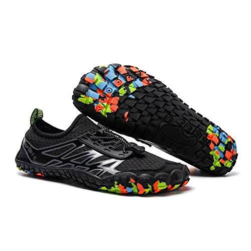 (KARAZZO Mens Water Shoes Slip-on Toe Shoes Barefoot with Superior Cushioning, Black-wz6, 8.5 M)