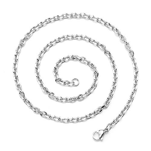 Nickel Steel Chain - Zysta 3mm Sturdy Nickel Free Stainless Steel 24 inch Lobster Clasp Trace Chain Necklace Women Men Neck Rope Cable Link Replacement Charms Pendant