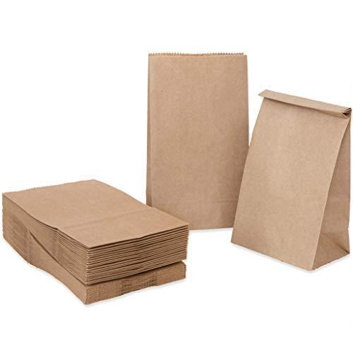 100 piezas Bolsas de Papel Regalo 14 x 26 x 8 cm - Bolsa Biodegradable Regalos Comunión para Invitados o para Guardar Comida, Semillas Flores, Dulces, ...