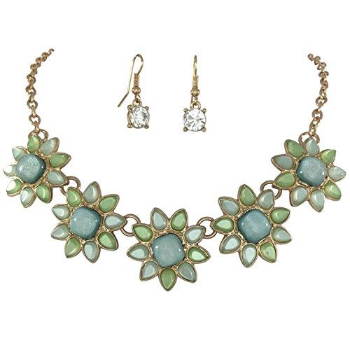 (5 Flower Dot Bib Bubble Rhinestone Gold Tone Statement Necklace Earrings Set (Green Tones))