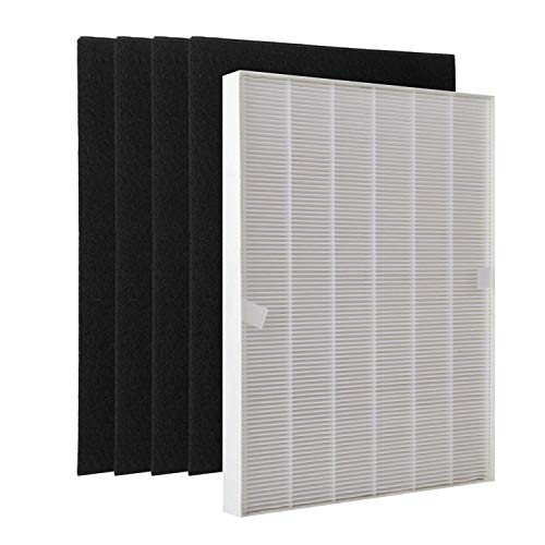 Extolife 1 True HEPA Plus + 4 Activated Carbon Pre Filters A 115115 Size 21 for Winix PlasmaWave Air Purifier 5300 6300 5300-2 6300-2 P300 C535