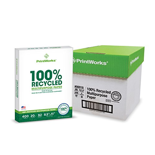 Printworks 100 Percent Recycled Multipurpose Paper, 20 Pound, 92 Bright, 8.5 x 11 Inches, 2400 sheets (00018C) - Multifunction Inkjet Paper