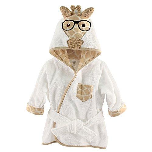 Hudson Baby Animal Face Hooded Bath Robe, Nerdy Giraffe, 0-9 Months