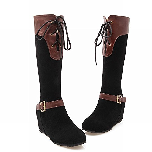 Latasa Womens Fashion Cold Weather Lace up Tall Wedges Boots Black Ii48CtPy
