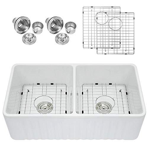 Sarlai 33 Double Bowl Farmhouse White Porcelain Ceramic Fireclay Apron-Front Kitchen Sink