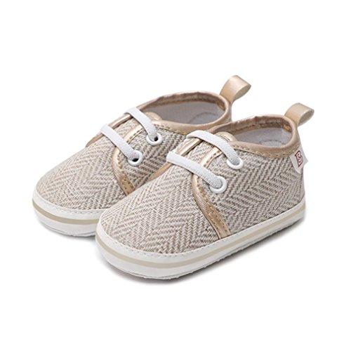 Prevently Weiche Baby Kleinkind Lederschuhe Baby Stricken Turnschuhe Kleinkind Schuhe Kleinkind-Säuglingsbaby-Mädchen Die Weiche Sohle Anti-Beleg-Schuh-Turnschuhe Beige