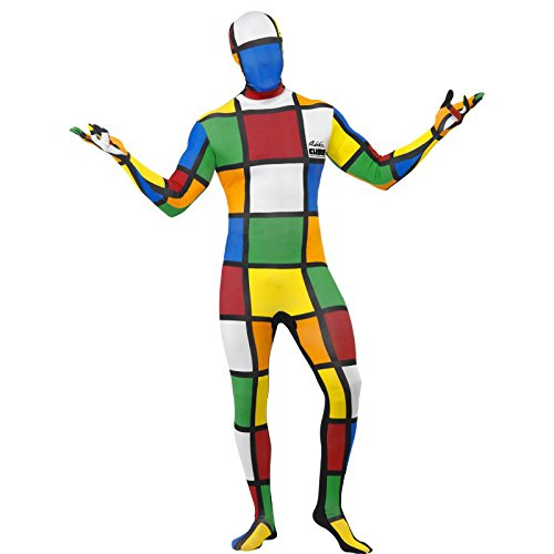 Rubik's Cube Second Skin Costume with Concealed Fly and Under Chin Opening. Based on the 80s puzzle toy which only geeks could complete.