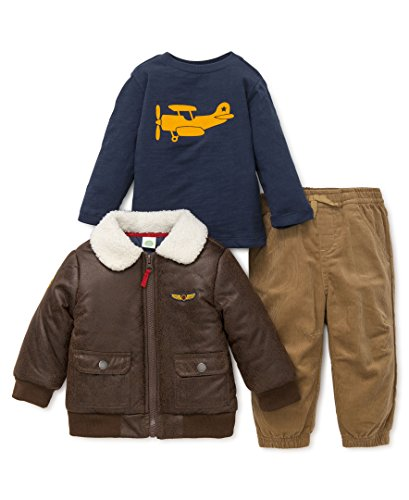 Little Me Baby Boys' 3 Piece Jacket and Pant Set, Aviator, 12M (Aviator Outfit)