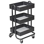 ECR4Kids 3-Tier Metal Rolling Utility Cart - Heavy Duty Mobile Storage Organizer, Black