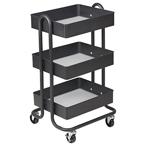 ECR4Kids 3-Tier Metal Rolling Utility Cart - Heavy Duty Mobile Storage Organizer, Black by ECR4Kids