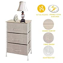 ITIDY 3-Drawer-Dresser,Nightstand,Bedside Table,End Table,Storage Chest for Nursery,Closet,Bedroom and Bathroom, NO Tool Required to Assemble