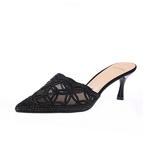 Pantofole Tallone Trapano Net Scarpe Alti Fico black Con 6Cm Garza Trascina Acqua Estate Sexy Sottile Affilato KPHY Tacchi Si PzqEz