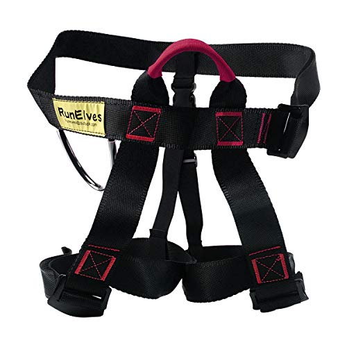 RunElves Thicken Climbing Harness, Protect Waist Safety Harness, Wider Half Body Harness for Mountaineering/Fire Rescuing/Rock Climbing/Rappelling / Tree Climbing