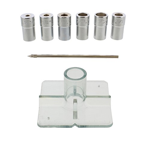 DCT SAE Drill Bit Guide Centering Punch 8-pc Center Drilling Set Kit - 3/16 to 1/2in Bushings, Locating Pin, Guide