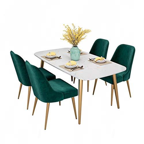 Mesa de Comedor de marmol Ligero Europeo para el hogar, pequena Mesa de Comedor y Silla con combinacion Moderna Minimalista Rectangular