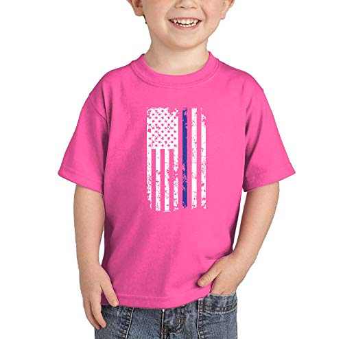 HAASE UNLIMITED Blue Line American Flag - Support Police Infant/Toddler Cotton Jersey T-Shirt (Pink, 4T)]()