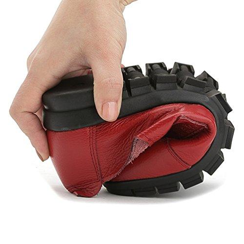 Piatto Rosso Velcro Mocassino Pu Tacco Scarpe Col Pelle Casuali Yiiquan Donna Comfort Basso w7a88