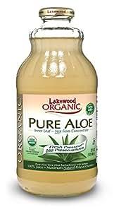 Lakewood Organic PURE Aloe Inner Leaf Juice, 32-Ounce Bottles (Pack of 6)