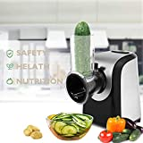 Professional Electric Slicer/Shredder with One-Touch Control and 5 Free Attachments for fruits, vegetables, and cheeses (US PLUG)