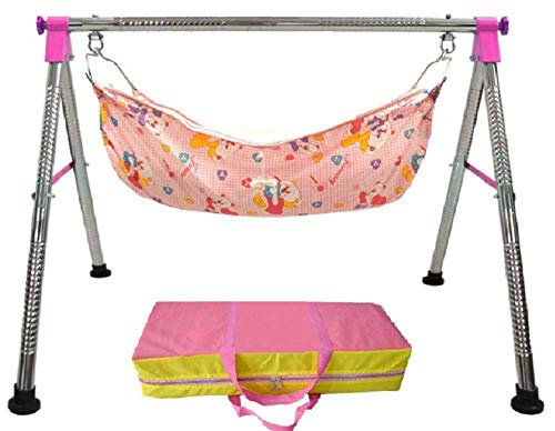 - EverEx Folding Stainless Steel Indian Style ghodiyu palna Swing Cradle jhula for Born Baby with Hammock. (Pink)