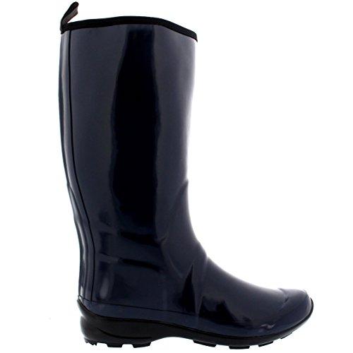 Rain Rubber Gloss Navy Tall Sole Wellies Winter Womens Boots Waterproof Contrast wP0xIwtR