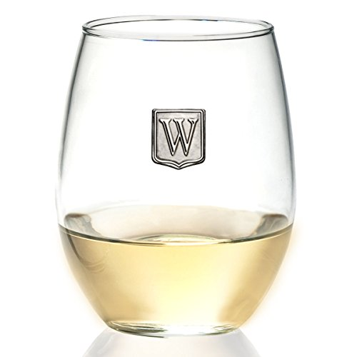 Fine Occasion Personalized Stemless Wine Glass with Letter Crest (W, 21 - Glasses Name