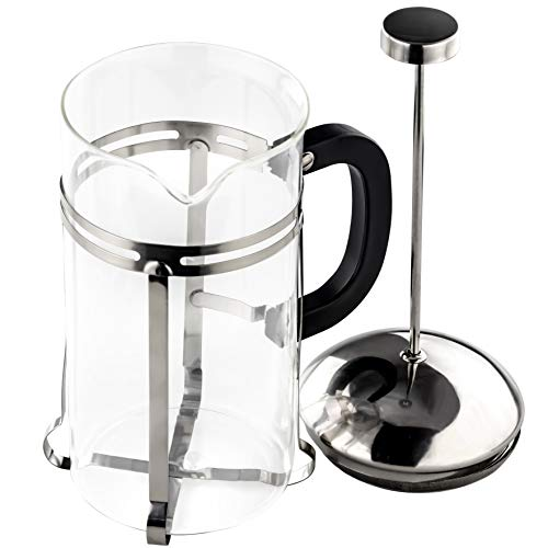 Gourmet, Ultra-Fine Stainless Steel French Press Coffee and Tea Maker. 33 Oz/ 4 Cup. Dishwasher-Safe, Heat-Resistant Glass Coffee Pot Great for Cold Brew, Espresso, Loose Leaf, or Frothing