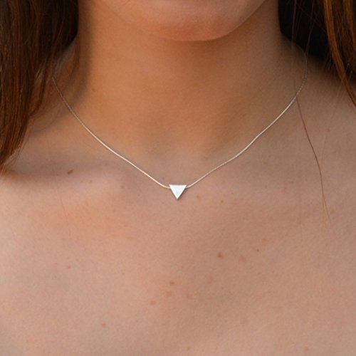 Triangle Necklace 925 Sterling Silver Dainty Geometric Necklace Pendant Jewelry 16 inches Length+2 ex