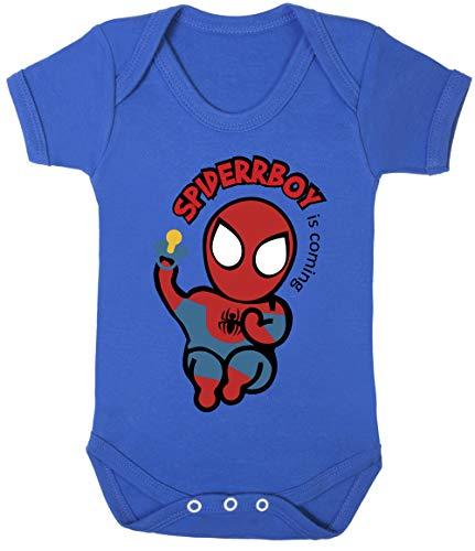 Superhero Spiderboy Baby Spider-Man Bodysuits 100% Cotton Hypoallergenic (Royal Blue, 6-12 Months) -