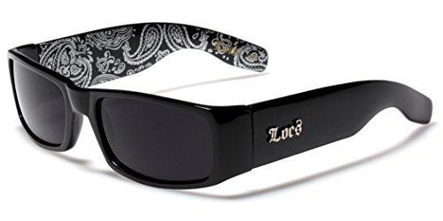 Locs Original Gangsta Shades Men's Hardcore Dark Lens Sunglasses with Bandana Print - - Cholo Shades