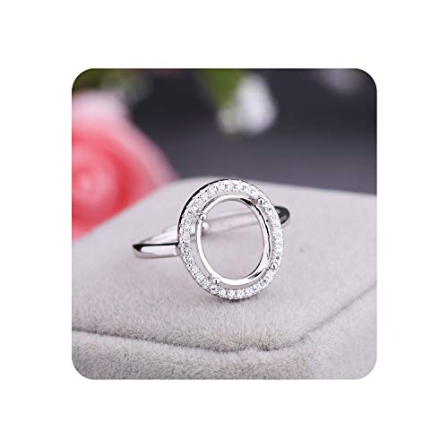 Romantic-cottage 925 Sterling Silver Women Engagement Wedding Ring 9x11mm Oval Cabochon Semi Mount Ring Setting Cubic,8.5