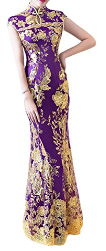 Comfy Women¡s Ruched Long Stand Collar Fishtail Sequin Cheongsam Dress Purple M ()