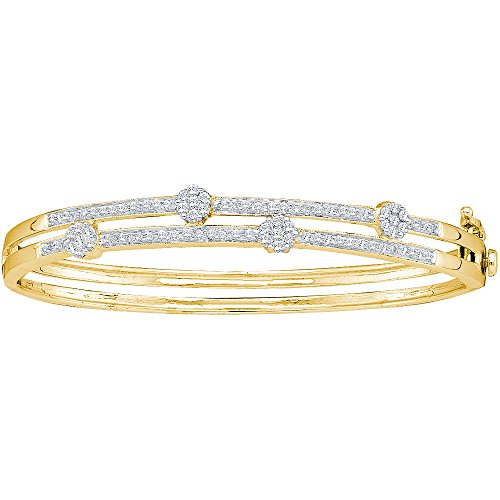 14kt Yellow Gold Womens Round Diamond Flower Cluster Bangle Bracelet 1.00 Cttw (I1-I2 clarity; H-I color) - Diamond Cluster Bangle Bracelet