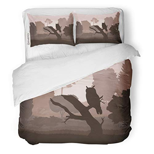Semtomn Decor Duvet Cover Set King Size Brown Silhouette Owl in Forest Flying Halloween Landscape Painting 3 Piece Brushed Microfiber Fabric Print Bedding Set Cover