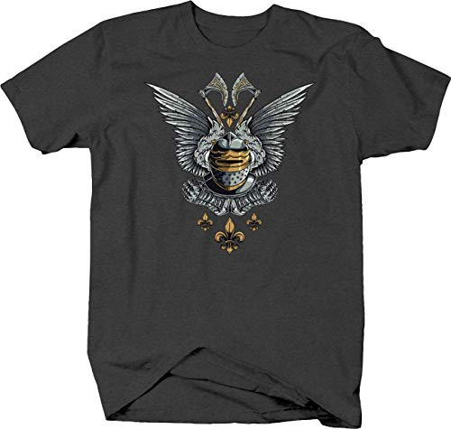 Tee Square Winged Knight Medevil Tshirt for Men 6XL Gray ()