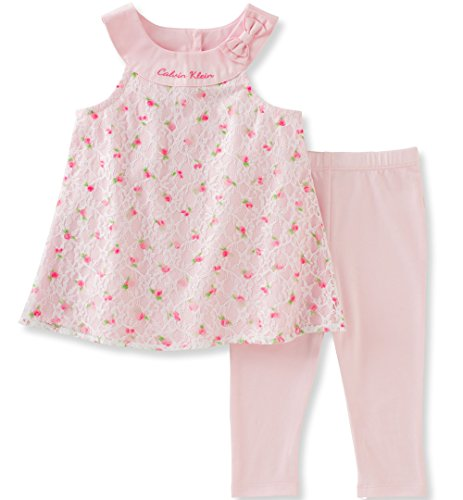 Infant 2 Piece Pant (Calvin Klein Baby Girls' 2 Pieces Tunic Pant Set-Lace, Baby Pink, 3/6M)
