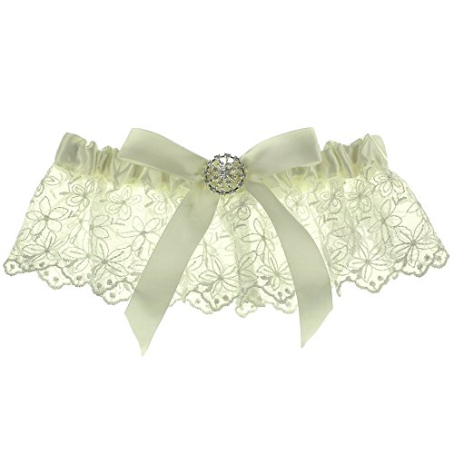 Ivory Satin Garter - Floral Lace Scalloped Ruffle Crystal Button Bow Satin Wedding Garter - Ivory