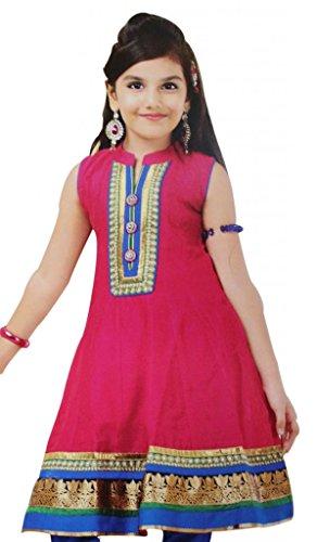 Vasundhara Designer Girl's Pink & Blue Cotton Salwar Suit, Size 38, Indian Clothing