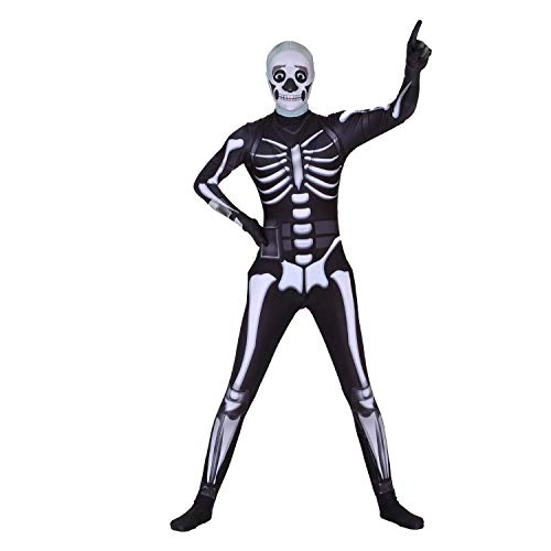 Gamer Girl Cosplay Costume   Skeleton Battle Royal   Brite Bomber Design Lycra Fabric (Extra Small, Skeleton) -
