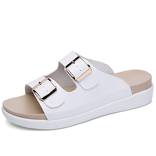 (YKH YKH-CBWF003baise40 Womens Open Toe Double Strap Footbed Slide Sandals with Adjustable Buckle White 8 US)