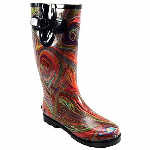 Women's Corkys, Sunshine rubber Rain Boots ART PALETTE PATENT 6 M