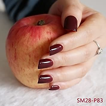 Fashion Middle Flat Top False Nail Tips For Finger Nails Candy Maroon Red Acrylic DIY