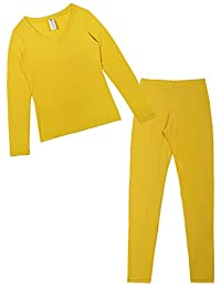 Godsen Women's V-Neck Thermal Underwear Pajama Set