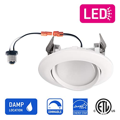 OSTWIN (12 Pack) 4 inch Dimmable LED Downlight Recessed Ceiling Light Fixture, Adjustable Gimbal Trim Kit Can Light, 10 W (75 Watt Replacement), 900 Lm, 5000K Daylight, ETL & Energy Star by OSTWIN (Image #2)