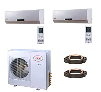 YMGI Dual Zone - 33000 BTU (9K +24K) Wall Mounted Mini Split Air Conditioner with Heat Pump for Home, Office, Apartment